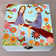 Summertime Sister Jewellery Box, Birthday Gift, Christmas Gift, Large Wooden Box