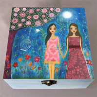 Friends are Magical Wooden Box, Keepsake Box, Jewellery Box, Large Craft Box