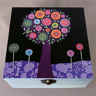 Purple Tree Jewellery Box, Birthday Gift, Christmas Gift, Large Wooden Box