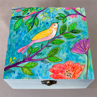 Tropical Bird Wooden Box, Large Jewellery Box, Birthday Gift, Christmas Gift