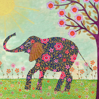 Sunny Elephant Large Art Print 50x50cm, Elephant Wall Art