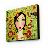 Large Art Block Painting 11.5 inches  by 8 inches - Flourish