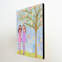 A Lovely Day Large Art Block Painting 9.5 inches by 11.5 inches