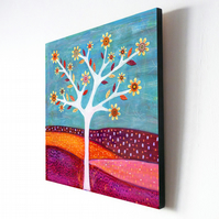 Large Abstract Tree Art Block Painting 10.5 inches by 10.5 inches - Amber
