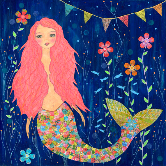 Pink Mermaid Art Print from an Original Mixed Media Painting