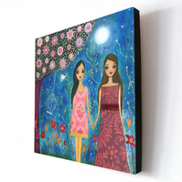 Large Art Block Painting Friends are magical 10.5 inches by 10.5 inches