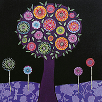 Purple Tree Abstract Collage Painting Art Print