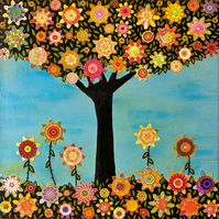 Abstract Collage Tree Painting Art Print - In Full Bloom