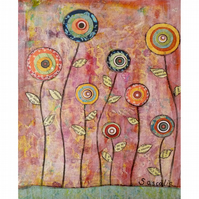 Pink Abstract Flower Collage Painting Art Print