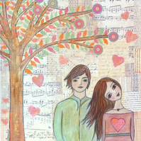 Tree of Love Art Print from an Original Painting by Sascalia