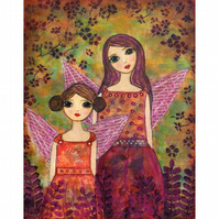 Autumn Fairies Fairytale Art Print from an Original Painting