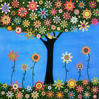 Summer Tree Art Print from an Original Collage Painting