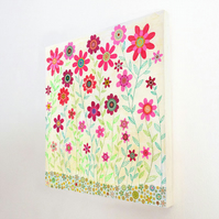 Large Pink Retro Flowers Art Block Painting 10.5 inches by 10.5 Inches