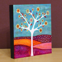 Small Abstract Tree Art Block Painting - Amber