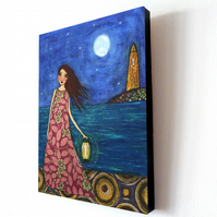 Large Art Block Painting 9.5 inches by 11.5 inches - Twilight