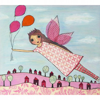 Pink Flying Fairy Art Print from an Original Painting by Sascalia