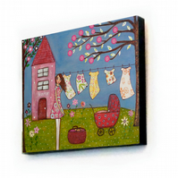 Home Sweet Home Large Art Block Painting 11.5 inches by 9 inches Laundry Day