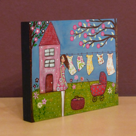 Home Sweet Home Small Art Block Painting - Laundry Day