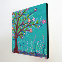 Happy Tree Large Art Block Painting 10.5 inches by 10.5 inches