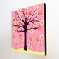 Pink Bird Tree Large Art Block Painting 10.5 inches by 10.5 inches