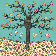 Retro Flower Tree Large Poster Print 50x50cm