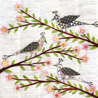 Whimsical Birds Large Poster Print 50x50cm
