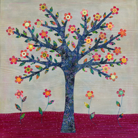 Whimsical Flower Tree Large Poster Print 50x50cm