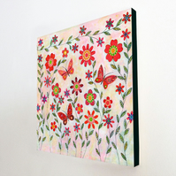 July Blooms Large Art Block Painting 10.5 inches by 10.5 inches