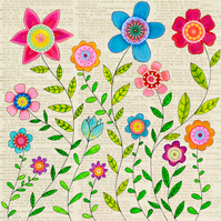 Bohemian Flowers Large Art Print 50x50cm - Floral Art - Flower Wall Art