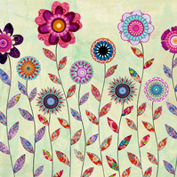 Purple Flowers Painting Large Poster Print 40x50 cm