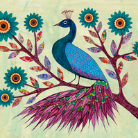 Blue Peacock Painting Large Poster Print 40x50 cm