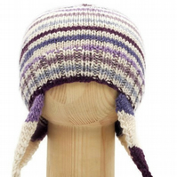 Hand knitted ear flap baby hat in shades of purple and cream stripes