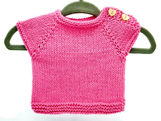 Hand Knitted Baby Top - Pink Cotton - Newborn