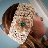"SALE - Hand Knitted ""Daisy"" Head band in cream with turquoise beads"