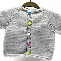 Hand Knitted Baby Cardigan - Grey acrylic - 0-3months