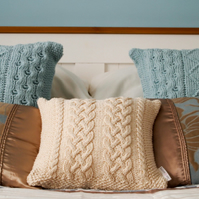 "Hand Knitted Cream Aran design cushion 12""x12"""