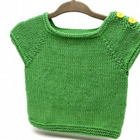 Hand Knitted Baby Top - emerald green cotton - 3-6months