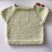 Hand Knitted Baby Top - yellow cotton - 0-3months