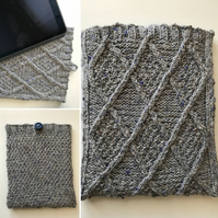 Handknitted iPad cover - aran design - blue grey marled wool