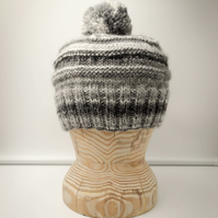 "Hand Knitted ""Tonal Toorie"" beanie hat in shades of grey with sparkles"
