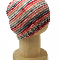 Hand Knitted beanie hat in peach, teal, beige, cream and red stripes