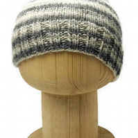 "Hand Knitted ""Tonal Toorie"" beanie hat in grey, cream and pink"