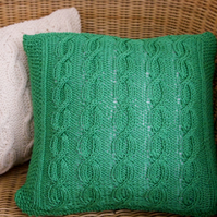 "SALE Emerald green hand knitted Aran design cushion 14""x14"