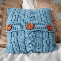"Blue hand knitted aran design mini cushion cover 9""x9"""