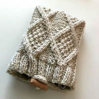 Hand knitted aran design pouch in cream