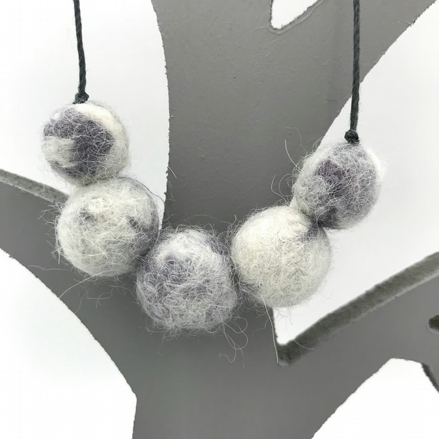 Felted bead necklace in grey and white marled baby alpaca wool