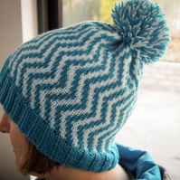 Chevron Hat Knitting Pattern - DIGITAL PATTERN ONLY
