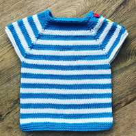 Hand Knitted Baby Top - White and blue stripes - 3-6 months