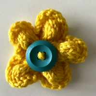 Hand knitted flower brooch pin - Yellow