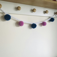 SALE Pompom and lace bunting garland in pink and blue